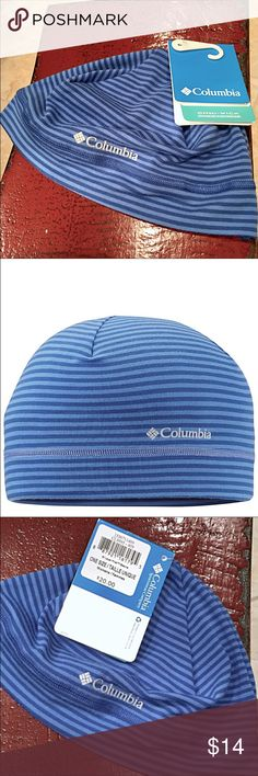 NWT Women's COLUMBIA Beanie Women's Layer First COLUMBIA Beanie - color: Blue Macaw Stripe - Omni-wick Technology - Compatible under helmet - 94% Polyester, 6% Elastane Columbia Accessories Hats