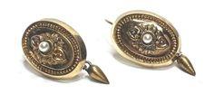 Vintage Pearl Dangle Oval Milgrain Women's Earrings 10KT Yellow Gold GV86281 #NA #DropDangle