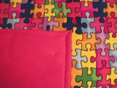 Puzzles with red backing by JandJblankiesandETC on Etsy