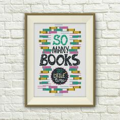 BUY 2 get 1 FREE!Books cross stitch pattern, quote cross stitch pattern,So Many Books ,Classic Book cross , Instant Download, S085 by ElCrossStitch on Etsy