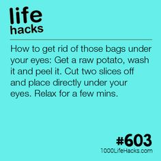 How to get rid of those bags under your eyes. Life Hacks - DIY - Tips. How to get rid of those bags under your eyes. Life Hacks - DIY - Tips.