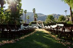 Picturesque views of the mountains in Palm Springs made a spectacular backdrop for the Ceremony Alter. Photography: http://www.kardosphotography.com | Venue: http://www.theWEstudio.com