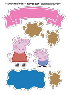 George and Peppa Pig: Free Printable Cake Toppers. Peppa Pig is a United kingdom preschool George Pig Cake, Peppa E George, Bolo Da Peppa Pig, Peppa Pig Birthday Cake, Peppa Pig Cakes, Peppa Pig Birthday Decorations, Birthday Bash, Fiestas Peppa Pig, Cumple Peppa Pig