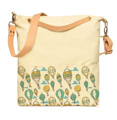 Balloons-amp-Airplane-Printed-Canvas-Leather-Strap-Crossbody-Messenger-WAS-35