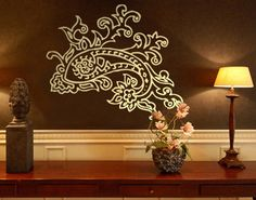 Wall Decal no.BR111 paisley Wall Sticker Pattern Form Fancywork Curlique in Home, Furniture & DIY, DIY Materials, Wallpaper & Wall Coverings | eBay