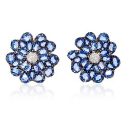 Bronia Blue Sapphire Earrings ($5,175) ❤ liked on Polyvore featuring jewelry, earrings, blue, nam cho, blue sapphire earrings, blue earrings, blue sapphire jewelry and earring jewelry
