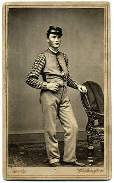 Youthful Union Soldier Wearing a Checked Shirt.    American Civil War