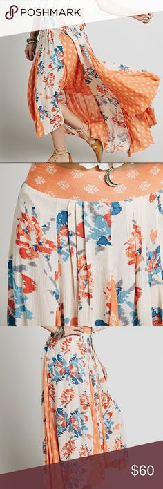 NWT FREE PEOPLE SHOW YOU OFF MAXI SKIRT Mixing different patterns, this high low maxi skirt features pleat detailing. Smocked elastic waistband in back. Raw hem.  Care/Import  Machine Wash Cold  Import  Measurements for size Small  Waist: 29.0 in Length: 37.0 in Free People Skirts Maxi