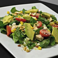 Spinach Salad with Chicken Avocado and Goat Cheese Recipe - Allrecipes Spinach Salad With Chicken, Spinach Salad Recipes, Goat Cheese Recipes, Chicken Salad, Spinach Goat Cheese Salad, Big Salad, Soup And Salad, Pasta Salad, Great Recipes