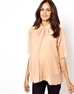 ASOS Maternity Blouse With Pleat Back And Raw Edge Adorable for the office.