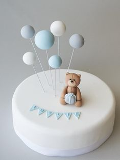Teddy Bear Birthday Cake, Baby First Birthday Cake, Teddy Bear Cakes, Cute Birthday Cakes, Fondant Birthday Cakes, Fondant Baby, Baby Shower Cakes For Boys, Teddy Bear Baby Shower, Baby Boy Cakes