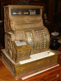 Mr. Beasley's Antiques Collectibles - American Antique Brass National Cash Register