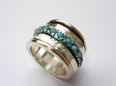 Great 9k Rose Gold  and Sterling Silver Opal Swivel Band by jewela, $370.00
