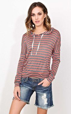 #FashionVault #styles for less #Women #Tops - Check this : Coral Striped Hooded Top - LGE - Coral Combo in Size Large by Styles For Less for $12.99 USD