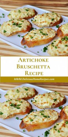 Artichoke Bruschetta INGREDIENTS : 1 teaspoon garlic salt 1 package of cream cheese, softened 1 cup mayonnaise 1 can of artichoke hearts (whole, halves, or quarters), drained Finger Food Appetizers, Yummy Appetizers, Appetizers For Party, Appetizer Recipes, Finger Foods, Appetizer Dessert, Best Bruschetta Recipe, Bruchetta Recipe, Snacks
