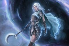 """""""""""Lunette"""" A D&D character commission for a friend Cleric arrives through a Gate spell Cleric, Necromancer, D D Characters, Fictional Characters, Character Art, Character Design, Cyberpunk, Fantasy Art, Medieval"""