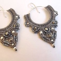 Macrame Earrings - Shades of Gray, Silver and Pyrite. $80.00, via Etsy.