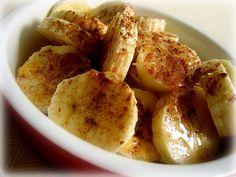 Sliced banana with cinnamon and honey. Quick and Simple Dessert! It was Yum-O!