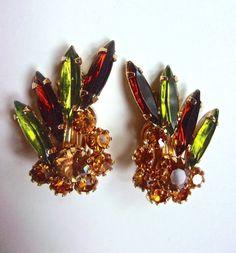 JULIANA Green Topaz Orange Rhinestone Earrings by RenaissanceFair