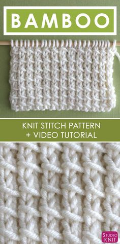 Bamboo Knit Stitch Pattern and Video Tutorial by Studio Knit How to Knit the Bamboo Stitch with Free Knitting Pattern + Video Tutorial for beginning knitters by Studio Knit Knitting Stiches, Easy Knitting, Loom Knitting, Knitting Patterns Free, Crochet Stitches, Crochet Patterns, Knitting Needles, Knitting Machine, Pillow Patterns