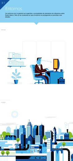 I was commissioned by BBVA Bank to develop the corporate illustration style that will be integrated to their Global Brand Guidelines.The objective was to achieve a clear and practical illustration style with a corporate approach but also with unique char… Flat Design Illustration, Creative Illustration, Character Illustration, Digital Illustration, Graphic Illustration, Icon Illustrations, Illustration Styles, Web Design, Vector Design