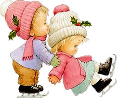 MaDonnas Wallpapers and Themes: Ruth Morehead ~ Ice Skating Cuties. Christmas Clipart, Christmas Pictures, Christmas Art, Vintage Christmas, Christmas Illustration, Cute Illustration, Clipart Noel, Holly Hobbie, Illustrations