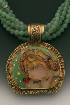 "Another gorgeous cloisonne piece piece for artist Linda Lundell called ""The Flute Player""."