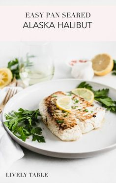 Celebrate National Seafood Month with this easy pan seared Alaska halibut recipe! If you're new to cooking fish, this delicious halibut recipe with lemon and white wine is a great place to start. And be sure to #AskForAlaska at the seafood counter to ensu Lemon Recipes, Fish Recipes, Seafood Recipes, Recipies, Pan Seared Halibut Recipes, Photo Food, Healthiest Seafood, How To Cook Fish, Pescatarian Recipes