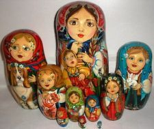 ONE OF A KIND Gorgeous AUTHOR'S LARGE NESTING DOLL STACKING DOLLS 10