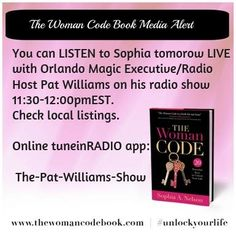 You can LISTEN to Sophia tomorow LIVE  with Orlando Magic Executive/Radio Host Pat Williams on his radio show 11:30-12:00pmEST.  Check local listings.   Online tuneinRADIO app:   The-Pat-Williams-Show