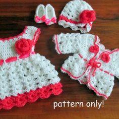 16 Beautiful Handmade Baby Gift Sets with Free Crochet Patterns,dress crochet,kinder kleid,handmade,patterns,fustana me grep per vajza,pune dore me grep per vajza,me grep per femije,crochet,