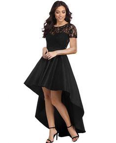 Round neck long sleeve lace stitching back hollow high waist front short long size female dress High Low Cocktail Dress, Black Cocktail Dress, Party Gowns, Party Dress, Party Wear, Evening Dresses, Prom Dresses, Banquet Dresses, Ladies Dresses