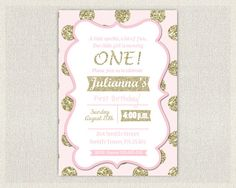 1st Birthday Invitation Gold and Pink by InvitationsByLittleP