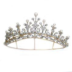 An important Victorian natural pearl and diamond tiara - Bentley & Skinner