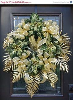 Green and Gold Deco Mesh Wreath