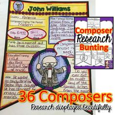 What a great idea! Composer research (like a thumbnail sketch, really) displayed as a bunting down the main hallway. LOVE IT! 36 composer plus a blank one. Great for use with iPads, in computer lab or with books or encyclopedias.