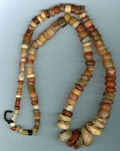 Neolithic stone bead strand from early settlements in Sahara, North Africa Tribal Jewelry, Beaded Jewelry, Beaded Necklace, Tribal Necklace, Bohemian Jewelry, Necklace Set, Jewellery, Ancient Jewelry, Antique Jewelry
