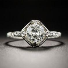.97 Carat Diamond Art Deco Solitaire Engagement Ring - GIA L VS1 - Vintage Diamond Engagement Rings - Vintage Engagement Rings