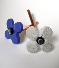 concrete flowers with copper stems.no wilting Get Well Gifts, Grey Flowers, Stems, Concrete, Copper, Valentines, Etsy Shop, Fresh, Blue