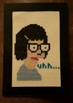 Tina cross stitch I just finished. I love Bob's Burgers!! So proud of my work!