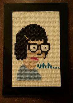 Tina cross stitch I just finished. I love Bob's Burgers!! So proud of my work!