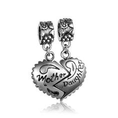Mother Daughter Dangle Charm 925 Sterling Silver Fit All Brands