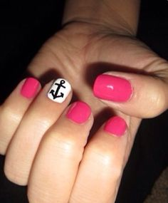 Anchor nails cute and simple -- again draw on anchor or any cute decoration on the fourth finger WITH PERMANENT MARKER!