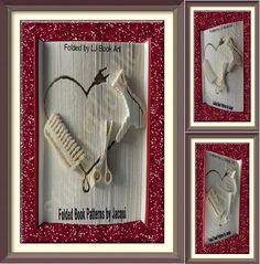 2336. Book Folding Pattern - Hair Dryer - Scissors - Comb - Heart by JHBookFoldPatterns on Etsy