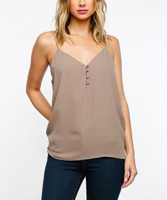 Featuring button-front details and a flattering v-neck, this sophisticated tank adds timeless appeal to your look of choice. That Look, Take That, Classy Outfits, Cocoa, Camisole Top, Buttons, V Neck, Detail, Tank Tops