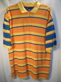 Royal Blue Mens Bright Orange Blue & Yellow Striped Short Sleeve Polo 2X | eBay