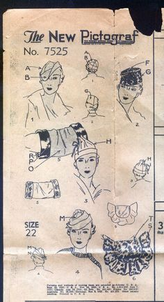 1930 Pictorial Review Pattern - Ladies' Hats and Muffs