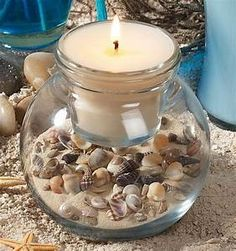 Home Décor With Beach Shells | Seashell candles, Shell and Craft