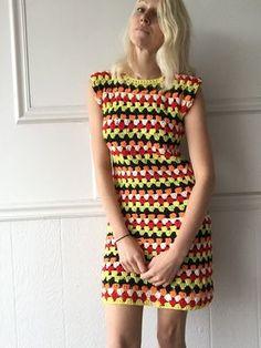 Kleid multicolor häkeln von TessaPerlowInc auf Etsy