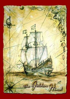 "The ""Golden Hind"" - pencil drawing & watercolor  on handmade paper, edited in Adobe Photoshop"